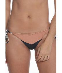 Black & nude bikini bottom with bicolor ties - BOTTOM RECORTE TRIANGULAR