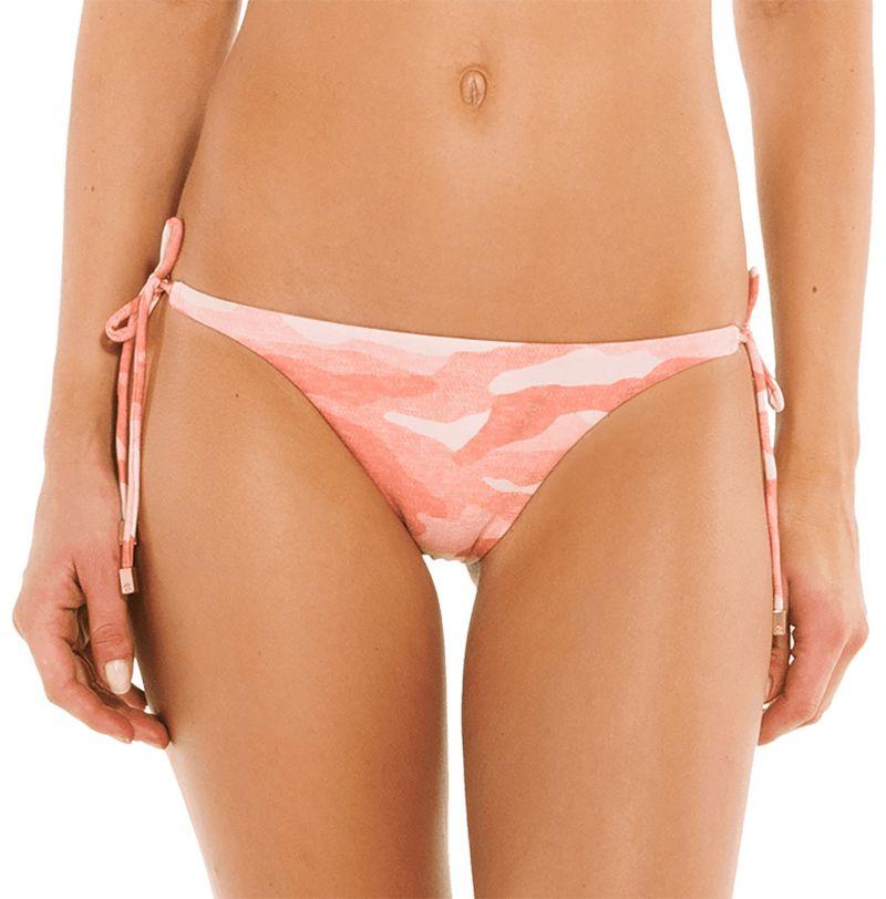 Accessorized pink camo side-tie Brazilian bikini bottom - BOTTOM BRALETTE CAMU