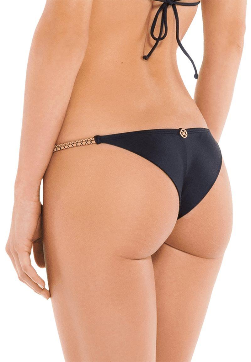 Luxurious black Brazilian bikini bottom with rope leather ties - BOTTOM NUDE ROPE KNOT TRI BLACK