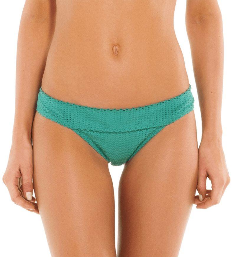 Accessorized textured green bikini bottom - BOTTOM SCALES HELEN EMERALD
