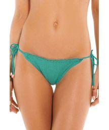 Accessorized textured green scrunch bikini bottom - BOTTOM SCALES RIPPLE TRI EMERALD