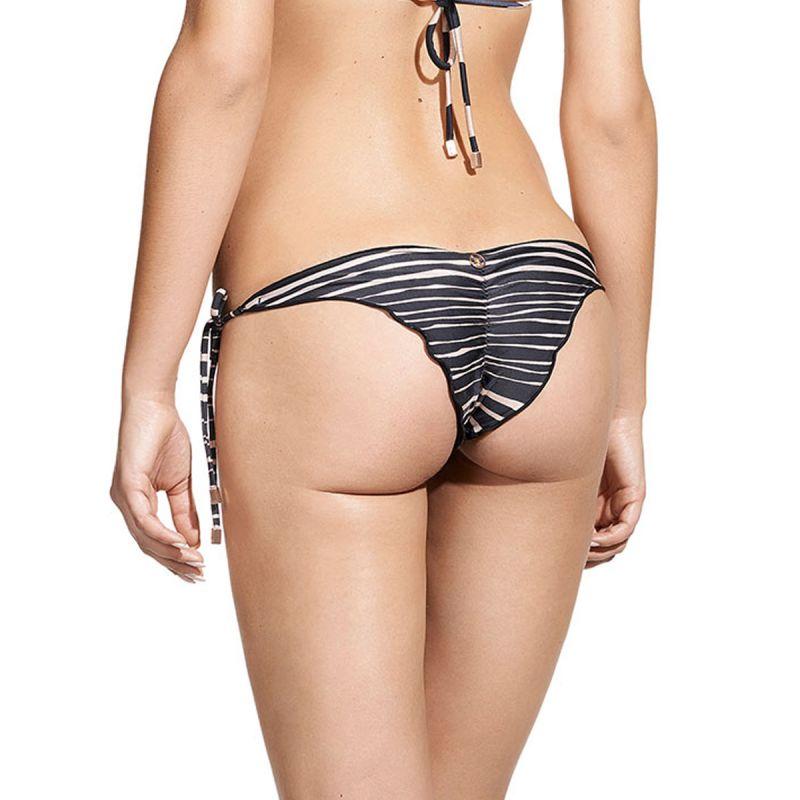Two tone striped scrunch Brazilian bottom with side ties - CALCINHA LANAI B RIPPLE TRI