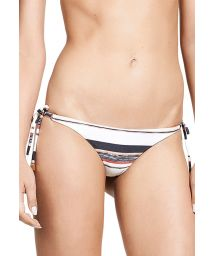 Luxurious Brazilian bikini bottom featuring colourful stripes - CALCINHA THAI TRI LONG CHEEKY