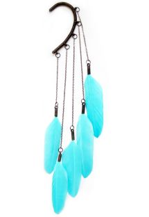 Cercel original, cu 5 pene turquoise de g�scă - Turquoise Dangle feather ear cuff