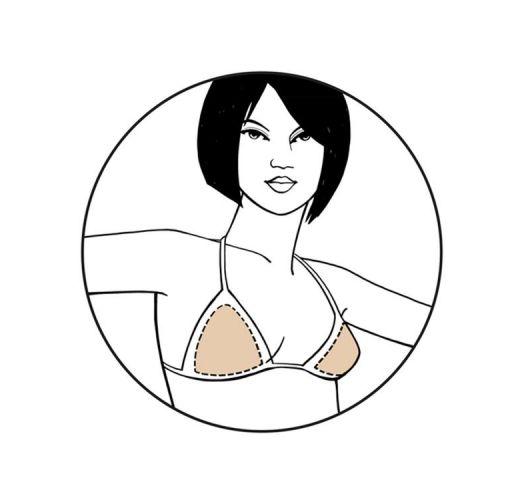 Removable soft triangle bikini bra inserts - BRAVO TRIANGLE BIKINI SHAPER NUDE