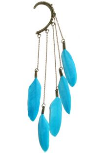 Clips pentru urechi cu pene albastre de g�scă - Lake blue dangle feather ear cuff