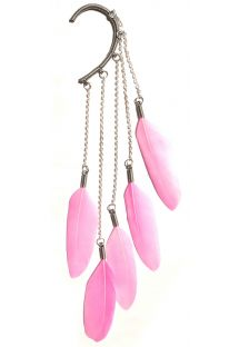 Ear cuff rosa con piume d&#39oca - Pink Dangle feather ear cuff