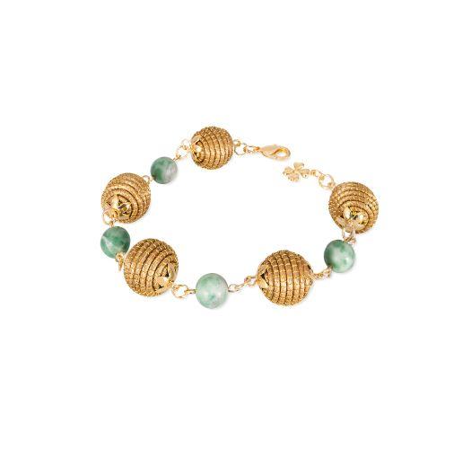 Capim dourado bracelet with spheres and beads - CONSTELAÇAO SOLAR