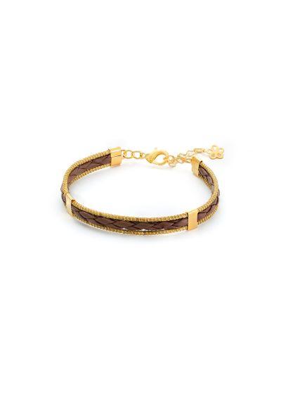 Handmade braided bracelet and 2 strands of vegetal gold - JAILOSN