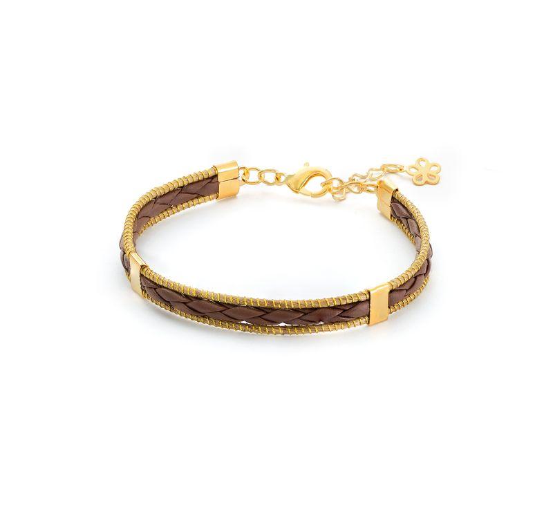 Handgjordt flätat armband och 2 trådar av vegetabiliskt guld - JAILOSN