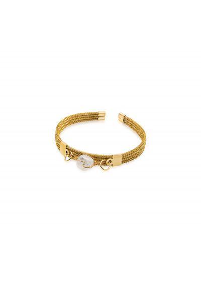Golden grass bracelet with white stone - PEDRA