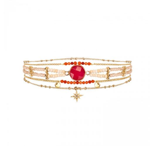 Multi-chain bracelet with gold garnet stone and star - MAMBO RED HIPANEMA