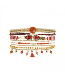 Gold plated pearl and red stones cuff with double heart cabochon - SPLENDOR RED HIPANEMA