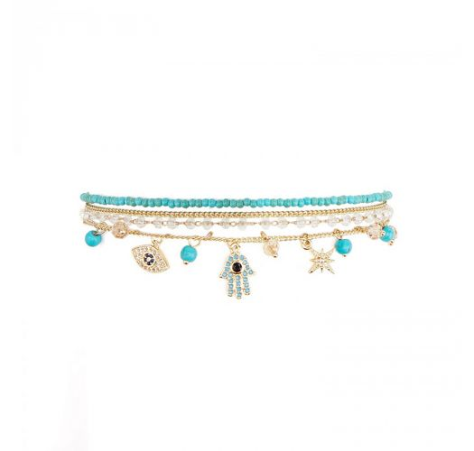 Gold chain bracelet, turquoise stones and rhinestone charms - AMULETTE TURQUOISE HIPANEMA