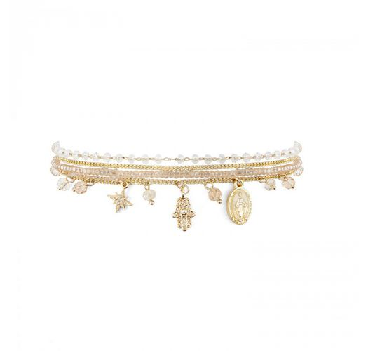 Gold chain bracelet, white stones and rhinestone charms - AMULETTE WHITE HIPANEMA