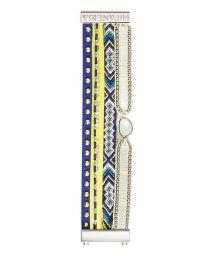 Bracelet with beads, studded leather, Brazilian ribbon - HIPANEMA BAHAMAS