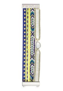 Bracelet with beads, studded leather, Brazilian ribbon - HIPANEMA BAHAMAS