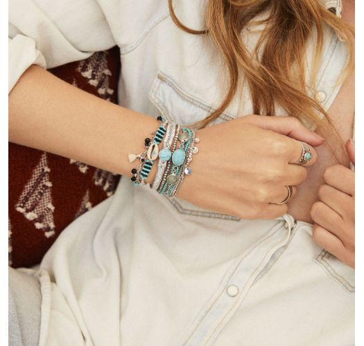 Silver lurex braided bracelet with pearls and turquoise stones - BAYA-LINK TURQUOISE HIPANEMA