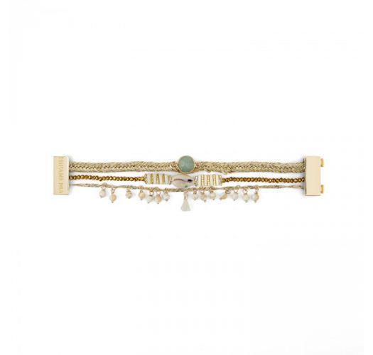 Браслет из позолоченной тесьмы-люрекса с жемчугом и жадеитом - BAYA-LINK WHITE HIPANEMA