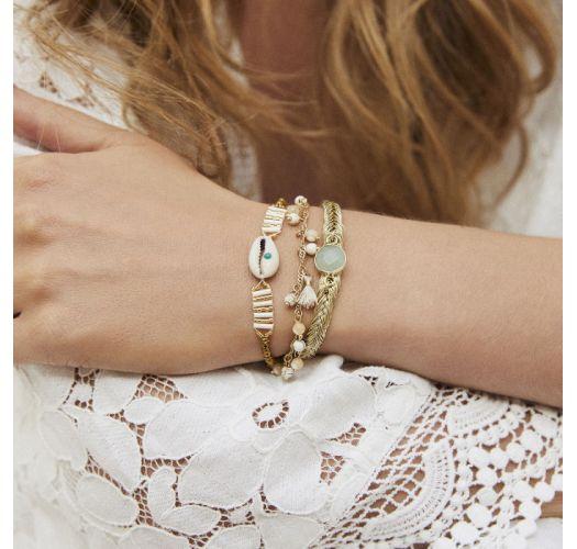 Gold lurex braided bracelet, with pearls and jade stone - BAYA-LINK WHITE HIPANEMA