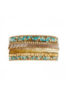 Manchette perles or/turquoise, sequins et strass - BYBLOS TURQUOISE HIPANEMA