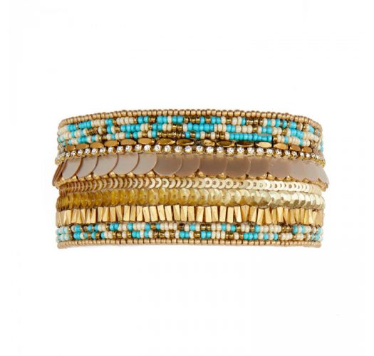 Gold & turquoise beaded cuff with sequins and rhinestones - BYBLOS TURQUOISE HIPANEMA
