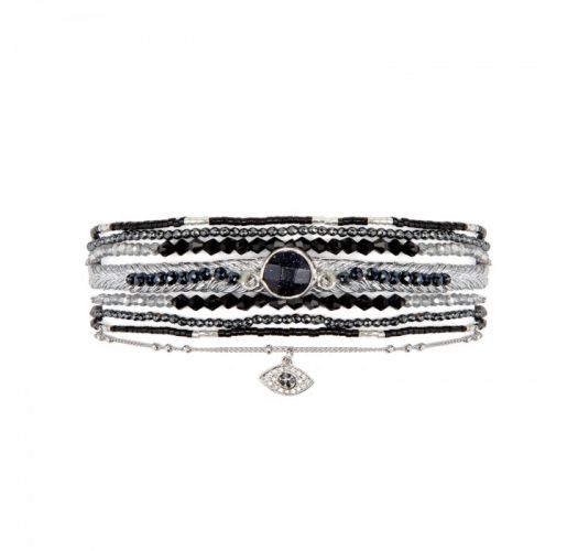 Black & silver cuff with dark stones and rhinestone eye - DIWALI BLACK HIPANEMA