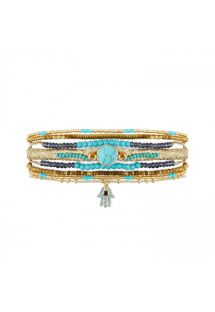 Golden cuff with turquoise stones, and hand of Fatma rhinestone - DIWALI TURQUOISE HIPANEMA