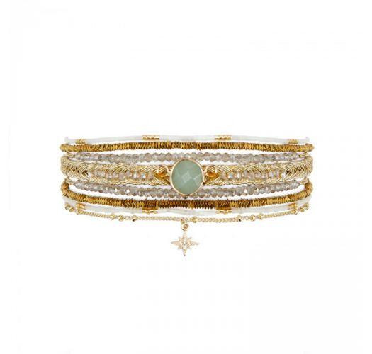 Multi-row golden cuff with jade stone and rhinestone star - DIWALI WHITE HIPANEMA