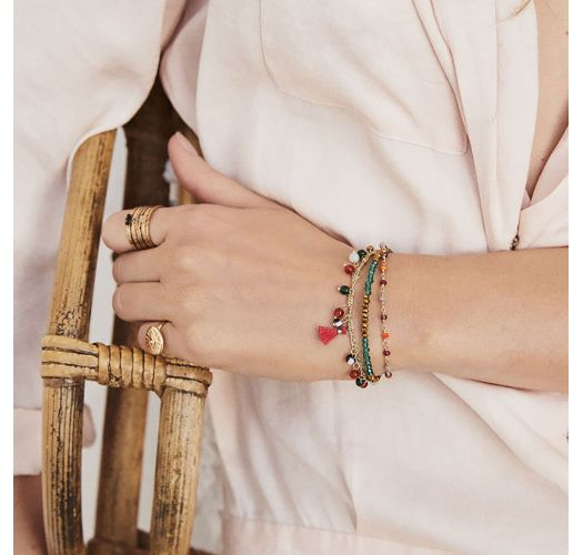 Gold plated chain bracelet with beads and semi-precious stones - HAREM RED HIPANEMA