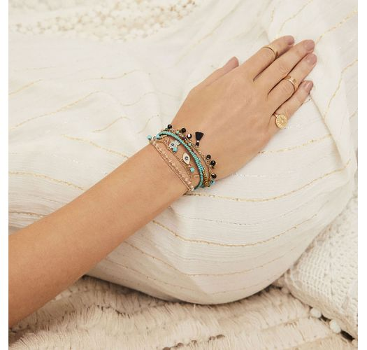 Gold plated chain bracelet with beads and turquoise stones - HAREM TURQUOISE HIPANEMA