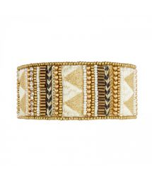 Manchette dorée de perles, fils tissés et tressés - HASSIAH WHITE HIPANEMA