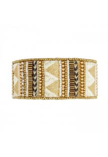 Gold woven cuff with pearls and braided threads - HASSIAH WHITE HIPANEMA