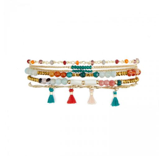 Multi-row bracelet with chain rosary and colorful stones - HENNAH MULTICOLORE HIPANEMA
