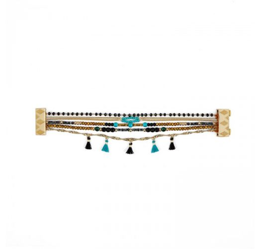 Multi-row bracelet with chain rosary and black & turquoise stones - HENNAH TURQUOISE HIPANEMA