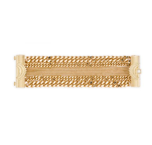 Gold multi-chain cuff with jewelled clasp - HIPANEMA AGYNESS GOLD