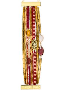 Red/gold beaded cuff with stones -HIPANEMA AMARANTE