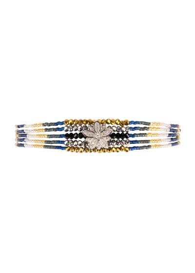 Silver & navy beaded mini cuff - rhinestone star - HIPANEMA ARIZANA NAVY