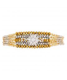 Gold & silver beaded mini cuff - rhinestone star - HIPANEMA ARIZANA SILVER GOLD