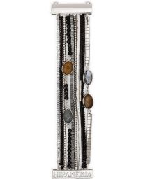 Black/silver bead and stone cuff - HIPANEMA ARPEGE