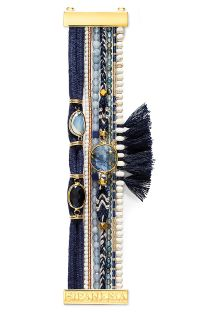 Bracelet navy blue beads, threads and tassels - HIPANEMA ATHENA