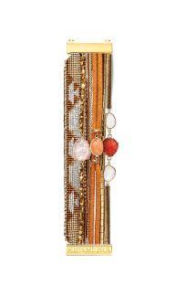 Браслет-манжета из бисера и камней медного цвета - HIPANEMA AURORE