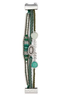 Green/silver pearl and multi-band bracelet - HIPANEMA BALI LINK