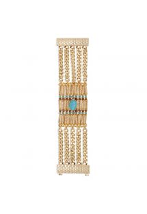 Cuff in gold-coloured beads, chains, blue stone - HIPANEMA BARAKA GOLD