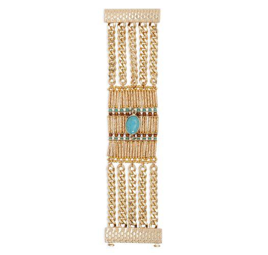 Armspange, goldene Perlen, Kette, Stein blau - HIPANEMA BARAKA GOLD