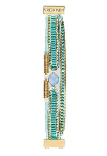 Small blue/gold bracelet in beads and crystal - HIPANEMA BIANCA MINI
