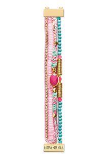 Smalle armband,pastelroze/blauw/gouden kralen - HIPANEMA BILLIE MINI