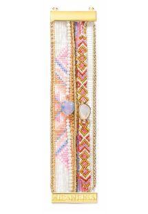 צמיד עשוי פנינים צבעוניות, חוטיםואבני בדולח - HIPANEMA CAMELIA