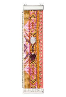 Armband av pärlor, garn och rosa läder med nitar - HIPANEMA CAPUCINE