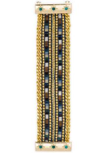 Chain bracelet with beads and gold-coloured jewel clasp - HIPANEMA CARY TWIN